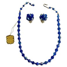 Austrian Aurora Borealis Blue Sparkling Crystal Glass Beaded Necklace with Matching Clip-On Earrings