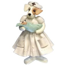 Maternity Nurse Anthropomorphic Dog With Baby Boy Puppy Figurine 1998 Donna Little Enesco