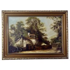 L Allen, The Old Forge Rural Building in Rustic Landscape Oil Painting on Canvas Signed by Listed Artist