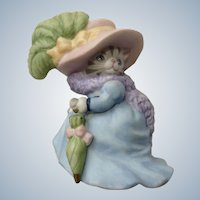 Kitty Cucumber in  Blue Dress and Large Pink Hat Cat Ceramic Figurine Schmid 1992 B Shackman