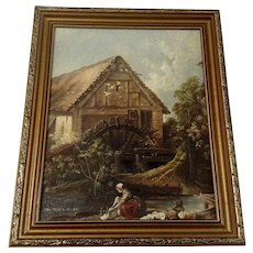 L Allen, Figural's at the Mill European Landscape Oil Painting on Canvas Signed by Artist