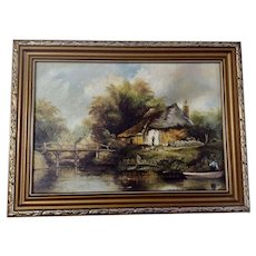 L Allen, Figural at Rustic Bridge European Landscape Oil Painting on Canvas Signed by Artist