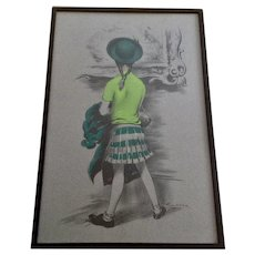 Lawrence Beall Smith (1909-1993) 'Museum Visitor' Young Girl In Green Looking At Art 1946 Lithograph Print