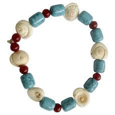 "Blue and Red Colored Beads with Polished Sea Shells on Bracelet 6-1/2"" Wrist"