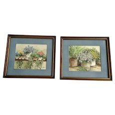 Floral Still Life Watercolor Paintings Signed by Artist