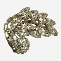 WEISS Large Rhinestone Diamante Crystal Pin Brooch Art Deco Style Signed