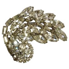 Vintage WEISS Large Rhinestone Diamante Crystal Pin Brooch Art Deco Style Signed