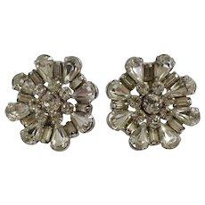 Vintage Rhinestone Diamante Crystal Silver-tone Large Clip-on Earrings Art Deco Style