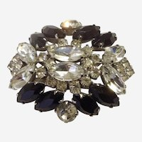 Black and Clear Rhinestone Diamante Crystal Silver-tone Brooch circa 1950's