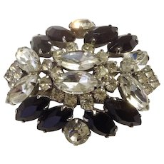 Vintage Black and Clear Rhinestone Diamante Crystal Silver-tone Brooch circa 1950's