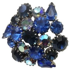 Vintage Blue and Aurora Borealis Rhinestone Diamante Crystal Brooch Pin Art Deco Style