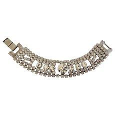 Vintage Rhinestone Diamante Crystal Bracelet Art Deco Style