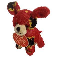 Cute Little Red Dog Plush Pin Cushion Tape Measure Vintage Stuffed Animal