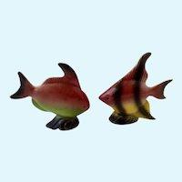 Tropical Fish Salt and Pepper Shakers Angelfish Ceramic Fish S&P Figurines
