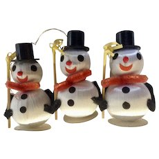 Vintage Snowman Christmas Tree Ornaments Silk Balls and Pipe Cleaners