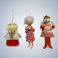 Mid-Century Angels Christmas Tree Ornaments Three Adorable Girls