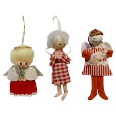 Vintage Angels Christmas Tree Ornaments 3 Adorable Mid-Century Girls