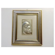 Embossed Sterling Silver Virgin Mother Mary With Child Jesus Framed Picture Italy