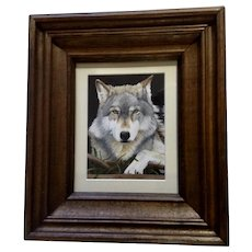 B Goding, Beautiful American Gray Wolf Portrait Acrylic Painting on Canvas Signed By Artist