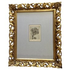 Hartzell, Dry Point Etching, Cubism Thorn Rose, Artist Proof 1970 In Gorgeous Gilded Gold Frame