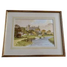 Nick Bradley Carter, Arundel Castle From Arun River Sussex England Landscape Watercolor Painting Signed by Listed Artist