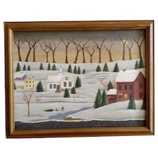T. Long Folk Art Landscape Snowy Colonial Town at Christmas Oil Painting Signed by Artist