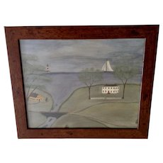 T. Long, Folk Art Colonial Town and Harbor Landscape Oil Painting on Canvas Signed by Artist