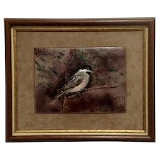 J Jean Carter, Chickadee Bird on a Branch, Enamel Painting on Copper Metal Plate Framed Signed