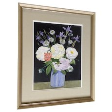 John McCrillis, Floral Still Life Bouquet Watercolor Painting Signed by Artist