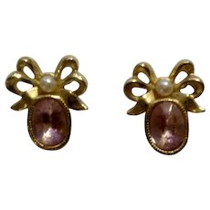 Faceted Pink Crystal Stones in Gold-Tone Bow Settings With Faux Pearl Stud Post Earrings Avon