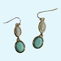 White Marble and Faux Turquoise Dangling Faux Stone Pierced Ear Earrings