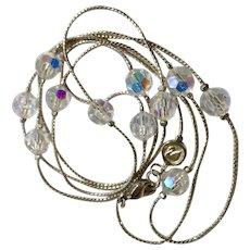 Swarovski Crystal Glass Aurora Borealis Beaded Silver-Tone Necklace Swan Emblem