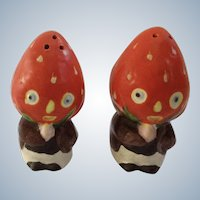 Strawberry Head Anthropomorphic Salt and Pepper Shakers Vintage Ceramic S&P Figurines