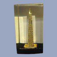 Vintage Washington DC Washington Monument Paperweight Lucite Acrylic By Capsco