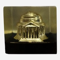 Vintage Washington DC Jefferson Memorial Paperweight Lucite Acrylic By Capsco