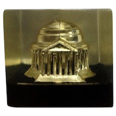 Vintage Washington DC Jefferson Memorial Paperweight Lucite Acrylic By Capsco
