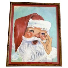 Mid-Century Adorable Santa Claus Christmas Oil Painting in Frame