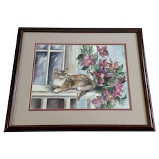 Kathryn Bowden, Cat on a Porch with Flowers Watercolor Painting Signed By Colorado Artist