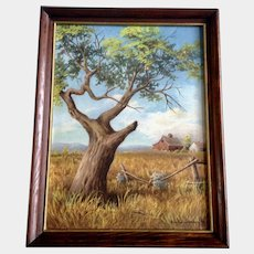 Bonnie Johnson, Old Apple Tree Acrylic Painting on Canvas Art Board 1972 Signed By Artist