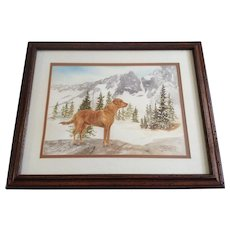 Carolyn H Evridge, Golden Retriever Dog Standing In A Snowy Landscape Watercolor Painting Signed by Artist
