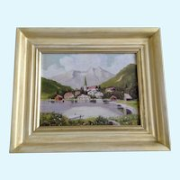 Orton, European Bavarian Village Landscape Oil Painting Signed by Artist