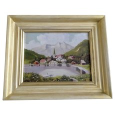 Orton, European Bavarian Village at the Lakeside Landscape Oil Painting Signed by Artist