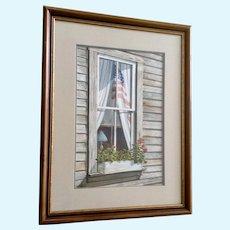 Dan Brown, American Flag Window Realism Watercolor Painting Texas Artist