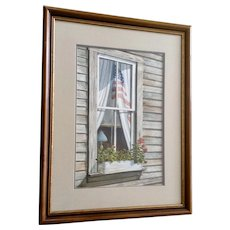 Dan Brown, American Flag In A Window Realism Watercolor Painting Signed By Texas Artist