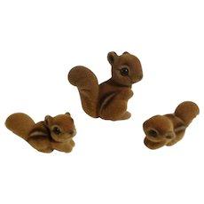 Josef Originals Fuzzy Chipmunk Squirrel Family Set of 3 Made in Japan Figurines
