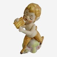 Amusing Faun Playing Pan Flute Ceramic Bisque Figurine #912 RARE