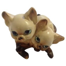 Vintage Josef Originals Adorable Big Eye Siamese Kitten Cats Animals Ceramic Figurine Made in Japan