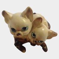 Vintage Josef Originals Adorable Big Eye Siamese Kitten Cats Animals Ceramic Figurine Made in Japan