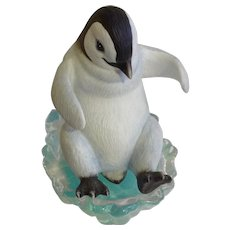Playful Penguins, Look Out Below! The Hamilton Collection 1996 Sculpture Porcelain & Glass Figurine