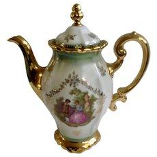 Coffee Pot K+T Kunst-Palette Regnitzlosau Fragonard Love Story Bavaria Made In Germany Iridescent Mint Green Kleiber 22 Karat Goldauflage